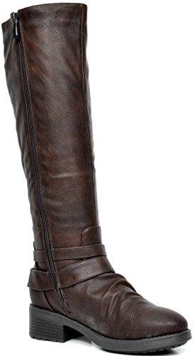 TRAUM-PAAR-Frauen Kniehohe und herauf Reitstiefel (breites Kalb verfügbar) Braun