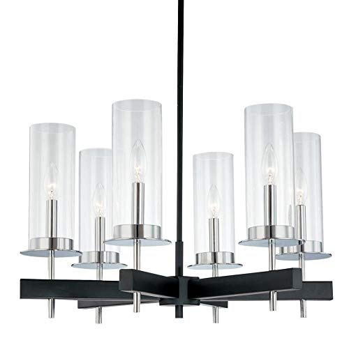 Sonneman 4066-54 Six Light Round Pendant, Black