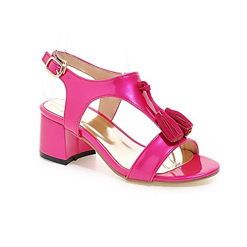Allhqfashion Dames Gesp Kitten Hakken Lakleder Solide Open Teen Sandalen Rosered