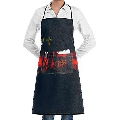 LOVEUIO Custom Signboard Inscription Ladder Dark Adjustable Apron with Pockets Plus Size for Kitchen for Wife Ladies Men BBQ