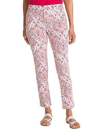 Chico's Women's So Slimming Scroll-Print Girlfriend Ankle Jeans Size 6 S (0.5 Tall) Red