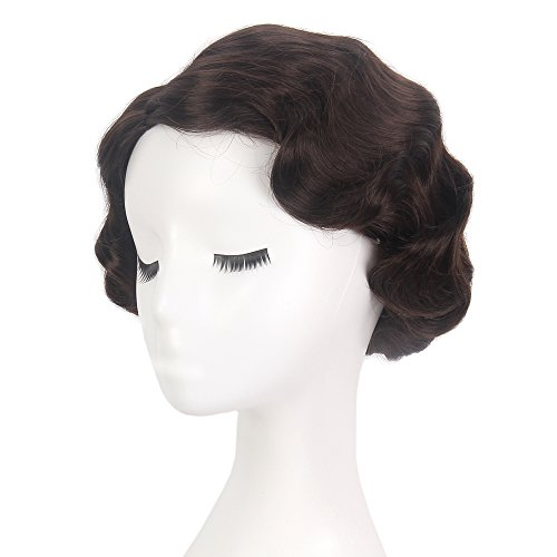 STfantasy Finger Wave Wig Brown Bob Short Curly for Women Cosplay Party Costume Hair (Finger Bobs)
