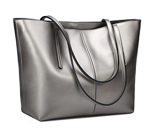 Obosoyo Women's Handbag Genuine Leather Tote Shoulder Bags Soft Hot Pewter