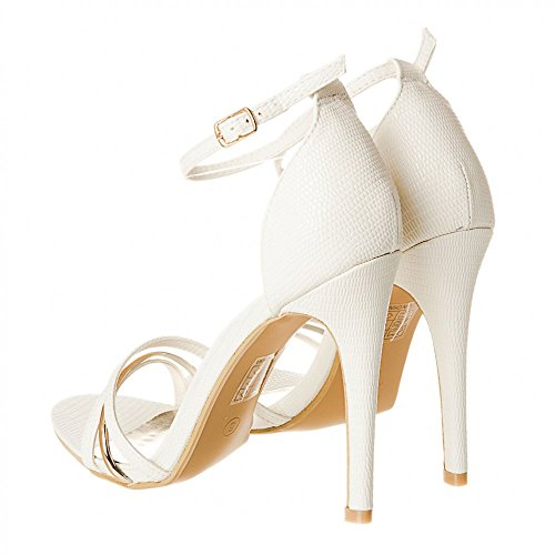 WHITE High LIZARD Ankle Sandal Heel with Stiletto Strap Strappy Ladies Womens Hq4HR