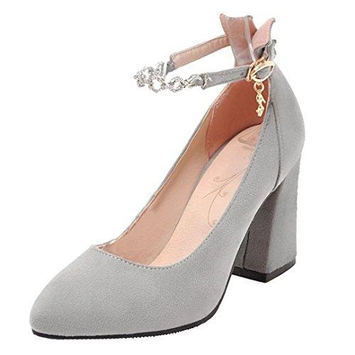 AIYOUMEI Damen Blockabsatz High Heels Knöchelriemchen Pumps mit Strass und Hoher Absatz Grau