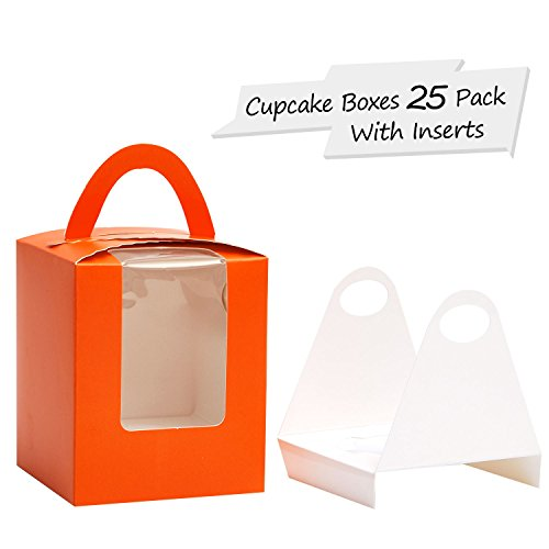 Yotruth Pop-up Cardboard Single Halloween boxes Cupcake Boxes Orange 25 Sets with Window Insert and Handle -