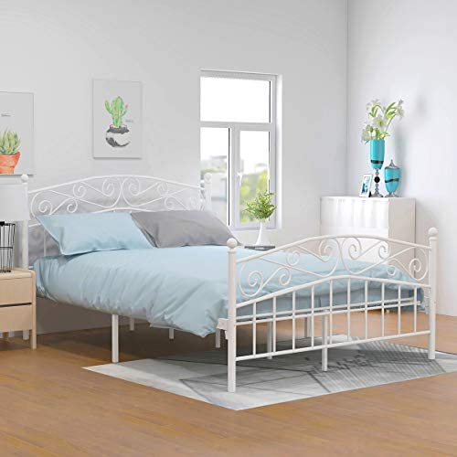 picture of Yollen Metal Beds Victorian Style Platform Bed Frame - Headboard