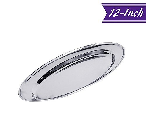12-Inch Stainless Steel Serving Platter, Small Silver Oval Platter by Tezzorio, Oval Platters and Trays, Great for Parties (12 Small Oval Platter)