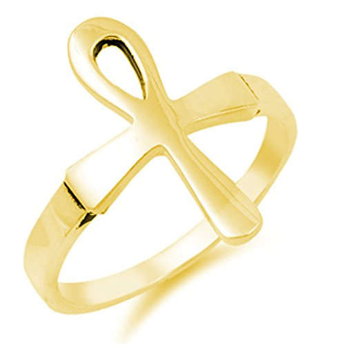 925 Sterling Silver Ankh Ring Yellow Tone Rhodium Plated Plain Simple Egyptian Design - Gold Ankh Ring