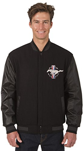 Mens Ford Mustang Wool & Leather Reversible Jacket With Embroidered Emblems (X-Large, Black) (Leather Reversible Jacket)