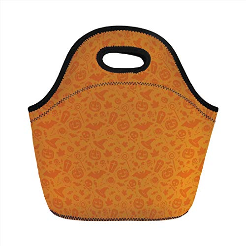 Lunch Bag Portable Bento,Halloween Decorations,Monochrome Design with Traditional Halloween Themed Various Objects Day,Orange,for Kids Adult Thermal Insulated Tote Bags]()
