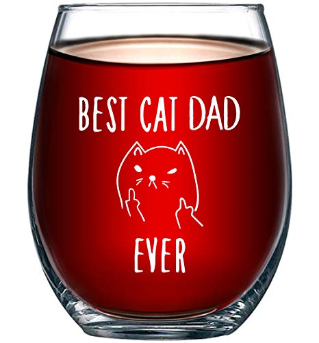 Best Cat Dad Ever Funny Wine Glass 15oz - Unique Christmas Gift Idea for Cat Lovers - Perfect Birthday Gifts for Men - Rude Sarcastic Cat Meme Cup - Evening Mug (Cat In Glass Wine A)
