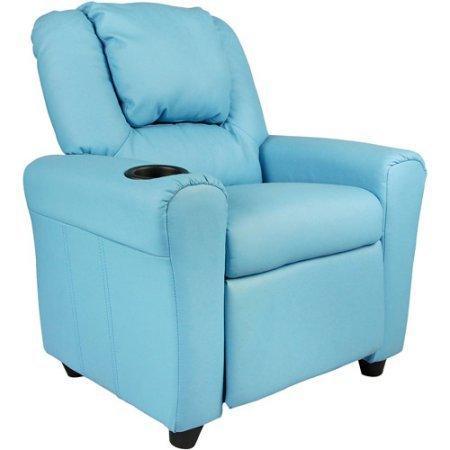 Kids' Vinyl Recliner with Cupholder and Headrest, Multiple Colors, Home Decor, Children's Furniture Set,Contemporary Style, Cupholder, Plush, Living Room Chair, Kid's Room, BONUS e-book (Light Blue)