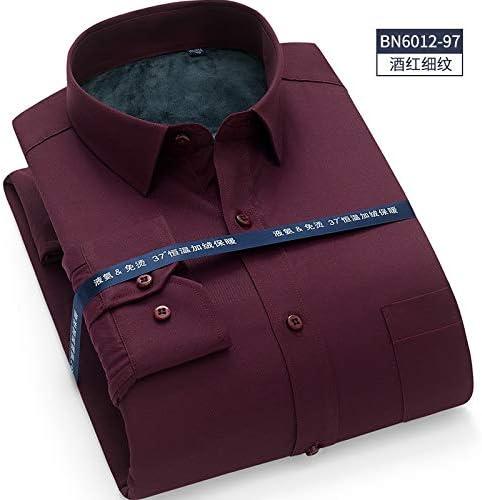RSL Manga Larga Camisa de los Hombres de Color sólido Profesional Ropa Blanca Grande Negocios Ocio Camisa Caliente (Color : Red Wine, Size : 46): Amazon.es: Hogar