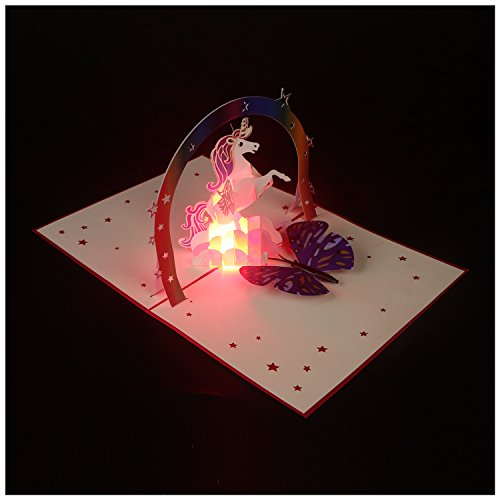 - Pop Up Card Birthday Card Gift Card, 3D Card Unicorn Hand-made Light Up Music Greeting Card for Birthday Christmas