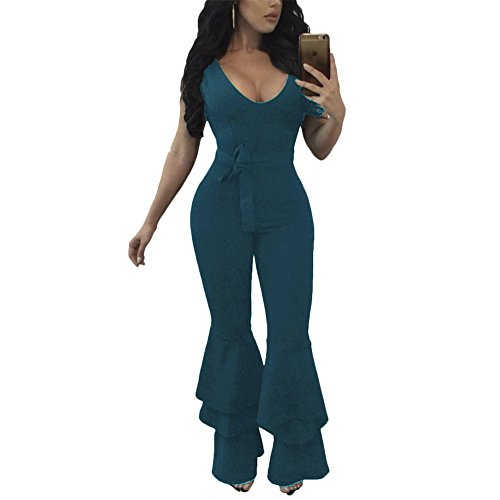(Joseph Costume Women's Sexy Flare Bell Bottom Pants Belted Bodycon One Piece Jumpsuit Rompers Dark Green)
