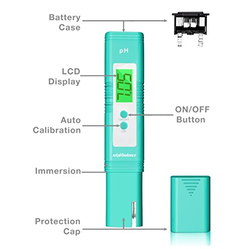 Digital pH Meter + FREE pH Solution Powder, High Accuracy pH 0-14 Water Quality Test, Premium Hydroponic Supplies Kit, Tests Pool, Aquarium, Soil pH Test Kit, pH Scale, pH Test Strips - selpHbalance (Imr 4064 Powder)