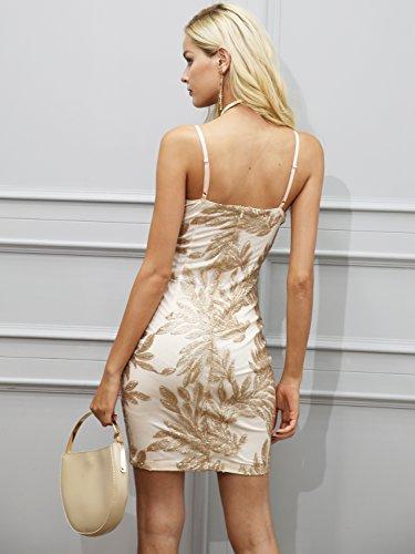 Champagne Donna Strappy Di Simplee Abbigliamento Mini Dal Motivo Cocktail Floreale Paillettes qw084