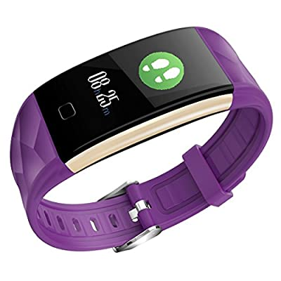 Fitness Tracker HR Heart Rate Monitor Activity Band Blood Pressure Sleep Monitor Pedometer, 0.96inch TFT Colorful OLED Screen Waterproof Bluetooth Smart Bracelet Iphone IOS Android (Purple)
