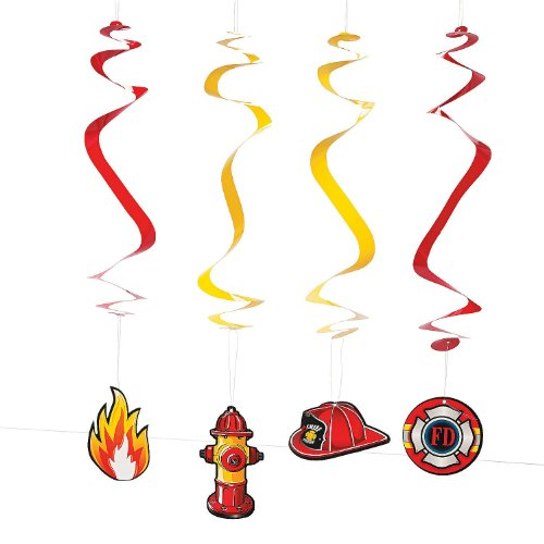 Paper Firehouse Heroes Hanging Swirls (Party House Supplies Fire)