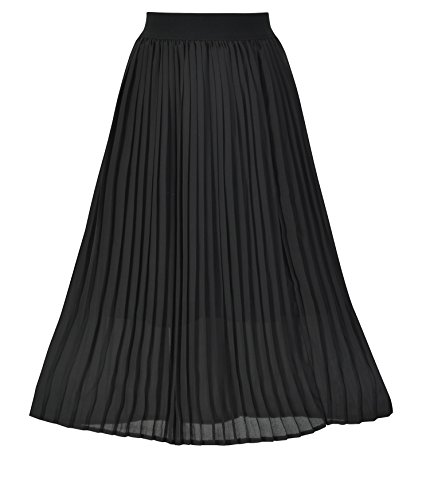 Howriis Women's Summer Chiffon Pleated A-line Midi Skirt Dress (Large, Black)