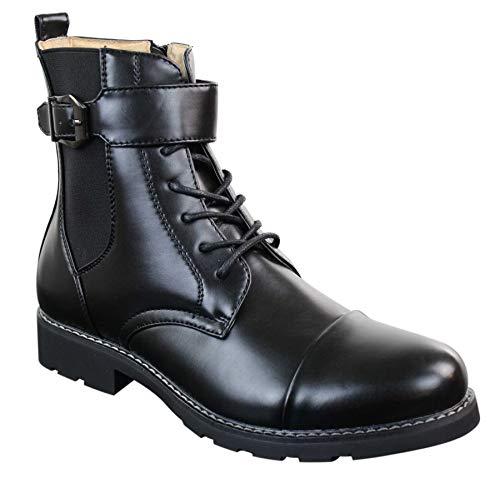 Boots Bottes Hauteur Et Couleur Zip Lacets Boucle Noires Armée Style Homme Chevilles Noir Militaire rRxwqBr40