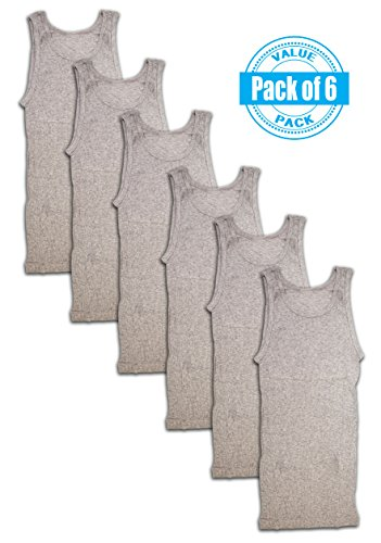 Great Sport Men's 6 Pack Cotton Color A-shirt Tank Top Muscle Shirts (Large, Heather Grey)