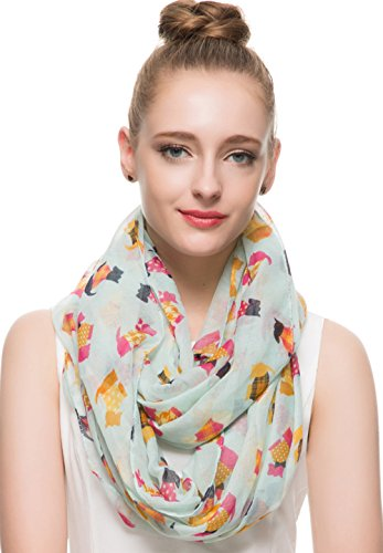Huan XUN Terrier Scottish Dog Print Infinity Circle Loop Scarf with Huan XUN Brand Gift Pounch, Light Turquoise