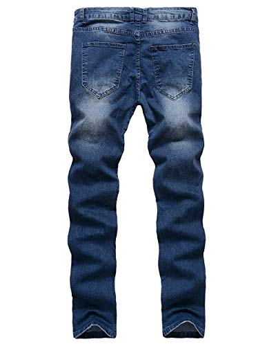 Pants Skinny Denim Classiche Casual Zipper Pantaloni Mens Ripped Slim Holes Jeans Fit Blau Biker Ragazzi rpqwpIfX