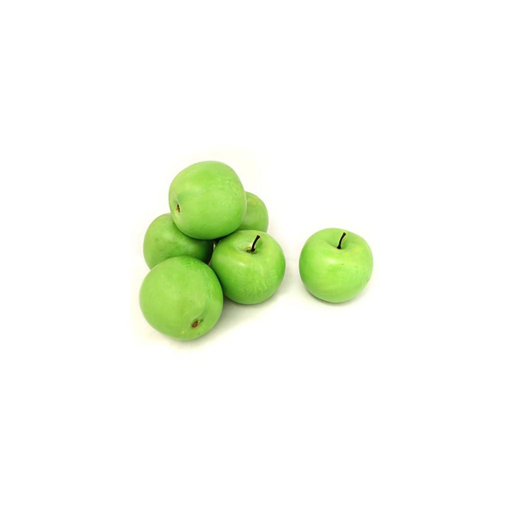 ALEKO-6AFGAP-Decorative-Lifelike-Realistic-Artificial-Fruit-Green-Apples-Lot-of-6