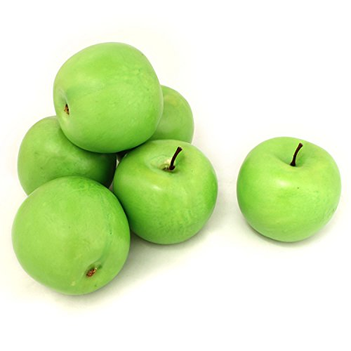 ALEKO 6AFGAP Decorative Realistic Artificial Fruits - Package of 6 Green Apples