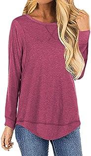 SNOWSONG Womens Plain Tunic Tops Crewneck Long Sleeve Tshirt Loose Casual Pullover Blouses