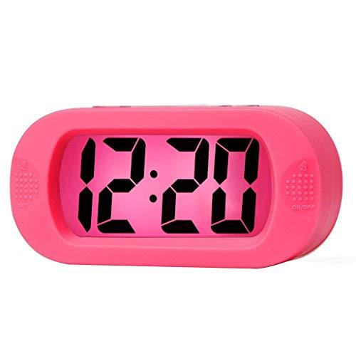 AKIMPE Alarm Clock Digital Bell Beep Dual Large LED Display with FM Radio Color Night Light Backlight Dimmer Battery Snooze Travel for Bedrooms Sunrise Simulation Desk - Pink Display Clock