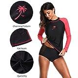 Attraco ladies rash guard shirt uv rushguard upf 50 rash guard women tops 2xl, black-red