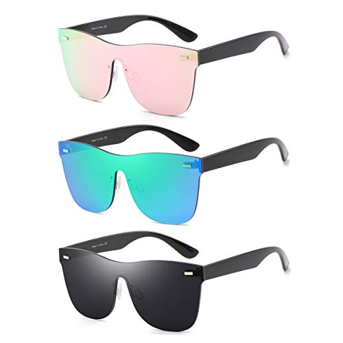 Rimless Mirrored Lens One Piece Sunglasses UV400 Protection for Women Men ()