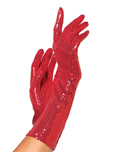 [Leg Avenue Women's Sequin Elbow Length Gloves, Red, One Size] (G String Halloween Costumes)