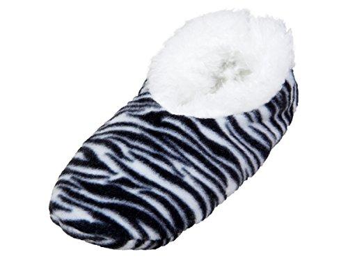 Alsino Damen Snoozies Hausschuhe plüsch über 15 MODELLE Snoozies ANTI RUTSCH ABS Kuschel Puschen Winter kuschelig weich bunt Damenhausschuhe 02/6002 Tiger schwarz; 40-41
