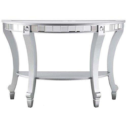 Southern Enterprises Lindsay Glam Demilune Mirrored Console Table