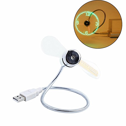 Usb Port & Drive Costumes (LED Clock Mini USB Fan For Laptop Notebook and Power Bank USB mini Fan Cooler Summer Fan)