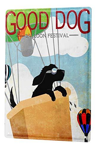 Tin Sign Cartoon Art Fun Good Dog Hot Air Balloon Festival Metal Plate 8X12