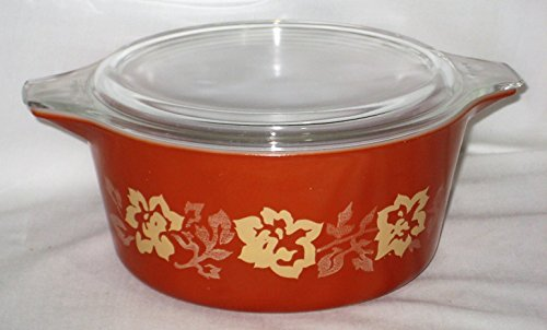 Vintage Kitchen Glass Casserole (Vintage Pyrex Terra Cotta Rose 1 1/2 Lite Round Glass Casserole w/ Clear Glass Lid)