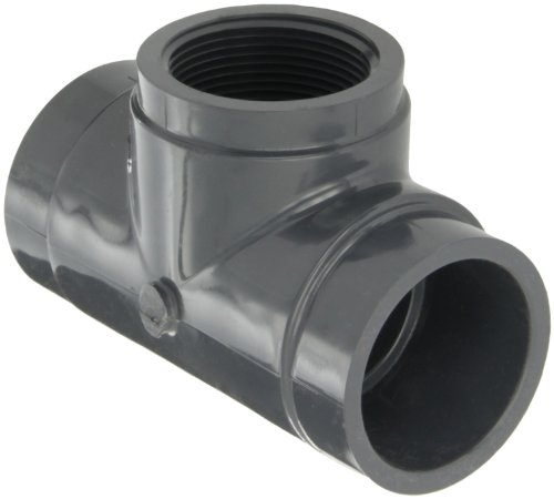 GF Piping Systems PVC Pipe Fitting, Tee, Schedule 80, Gray, 2