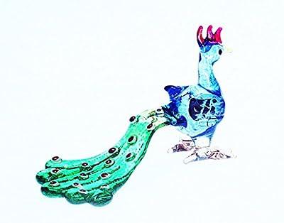ChangThai Design Peacock Figure Dollhouse Miniatures Animals Blue Long Tail Collectible Figurine