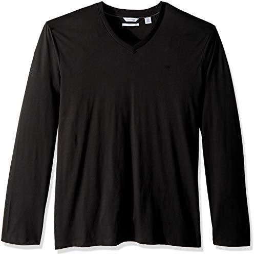 Calvin Klein Men's Long Sleeve V-Neck T-Shirt, Black, X-Large
