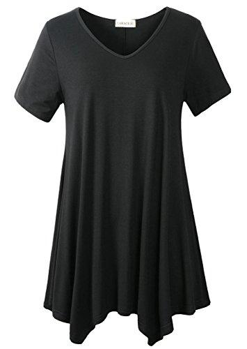 Bob Mackie Clothes - LARACE Women Casual T Shirt V-Neck Tunic Tops for Leggings(3X, Black)