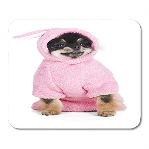 Emvency Mouse Pads Animal Brown Dog Pomeranian in Rabbit Costume Pink Small Mouse Pad for notebooks, Desktop Computers mats 9.5