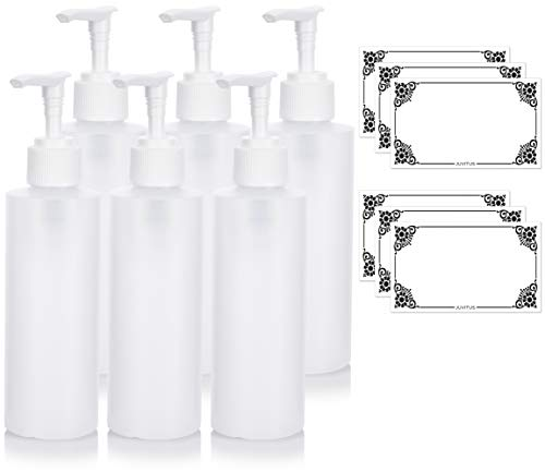 Clear Natural Large Refillable Plastic Squeeze Bottle with White Lotion Pump Dispenser 6 oz - (6 Pack) + Labels ()