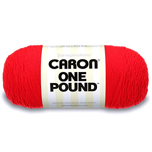 Caron  One Pound Solids Yarn - (4) Medium Gauge 100% Acrylic - 16 oz -  Scarlet- For Crochet, Knitting & Crafting