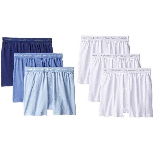 Calvin Klein Men's Underwear Cotton Classics 6 Pack Knit Boxers, White/Blue Assorted, ()