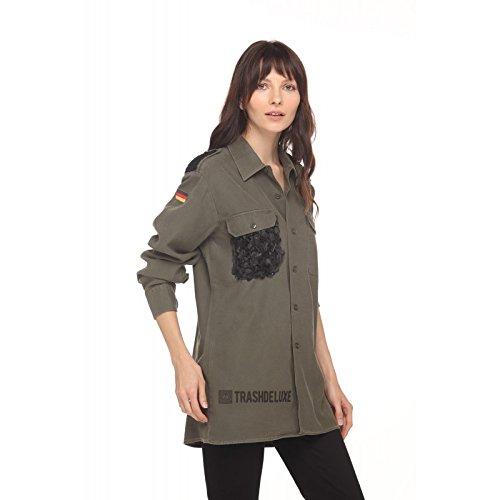 Con Militare Trashdeluxe Verde Camicia Pocket Petal tqEwzgfxw